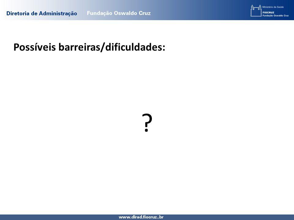 Possíveis barreiras/dificuldades: ?