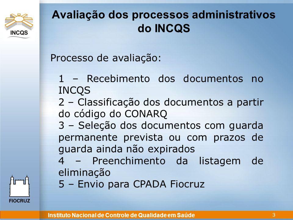 Instituto Nacional de Controle de Qualidade em Saúde 3 Avaliação dos processos administrativos do INCQS Processo de avaliação: 1 – Recebimento dos doc