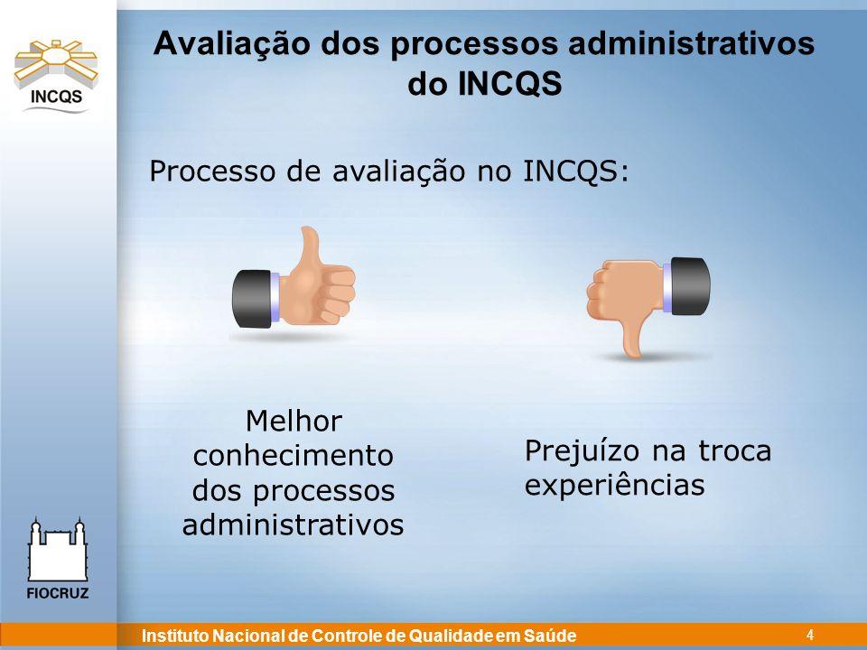 Instituto Nacional de Controle de Qualidade em Saúde 4 Avaliação dos processos administrativos do INCQS Processo de avaliação no INCQS: Melhor conheci