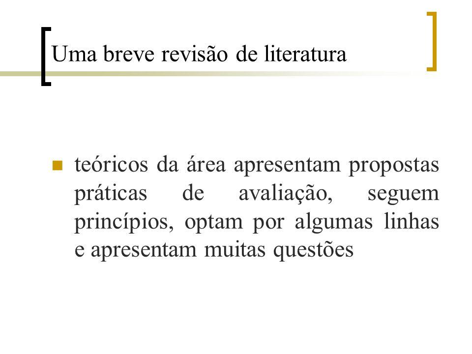 Uma breve revisão de literatura teóricos da área apresentam propostas práticas de avaliação, seguem princípios, optam por algumas linhas e apresentam muitas questões
