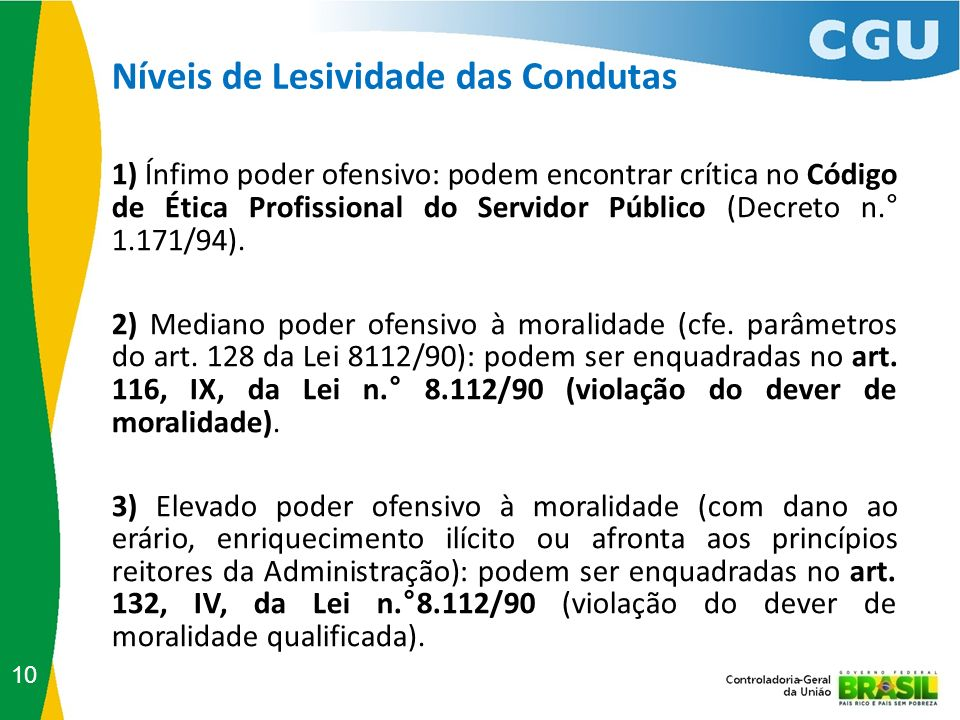 10 1) Ínfimo poder ofensivo: podem encontrar crítica no Código de Ética Profissional do Servidor Público (Decreto n.° 1.171/94). 2) Mediano poder ofen