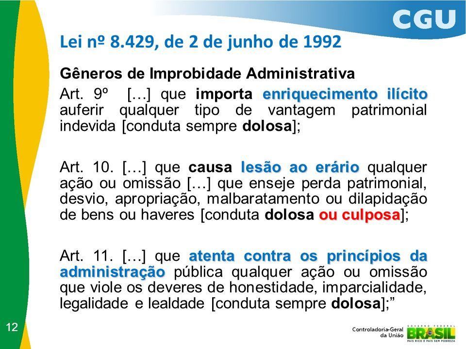 Lei nº 8.429, de 2 de junho de 1992 12 Gêneros de Improbidade Administrativa enriquecimento ilícito Art. 9º […] que importa enriquecimento ilícito auf