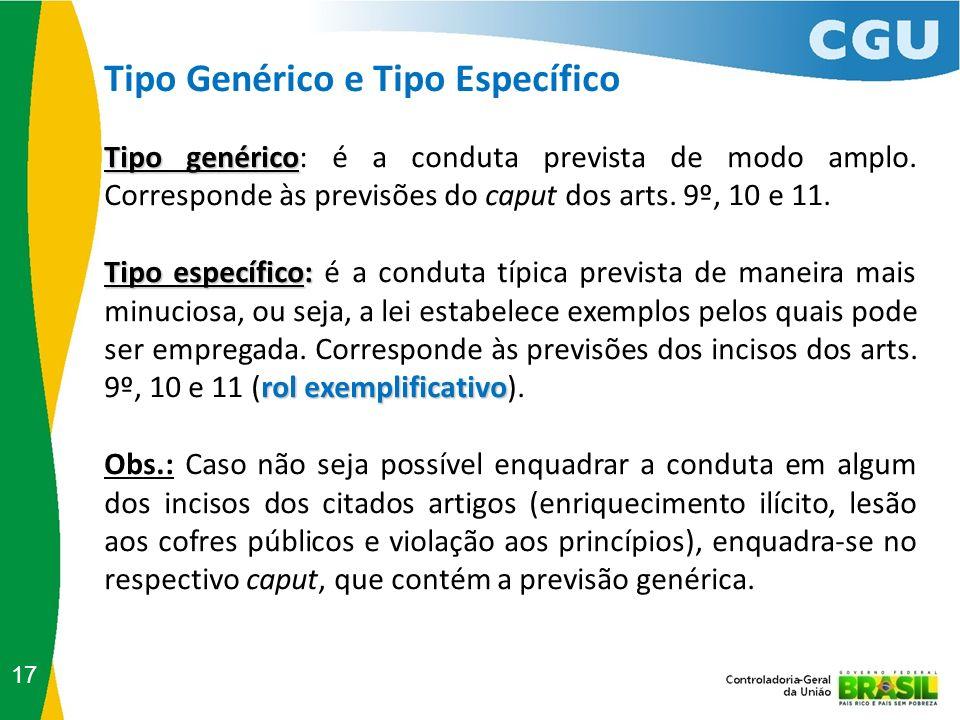 Tipo Genérico e Tipo Específico 17 Tipo genérico Tipo genérico: é a conduta prevista de modo amplo. Corresponde às previsões do caput dos arts. 9º, 10