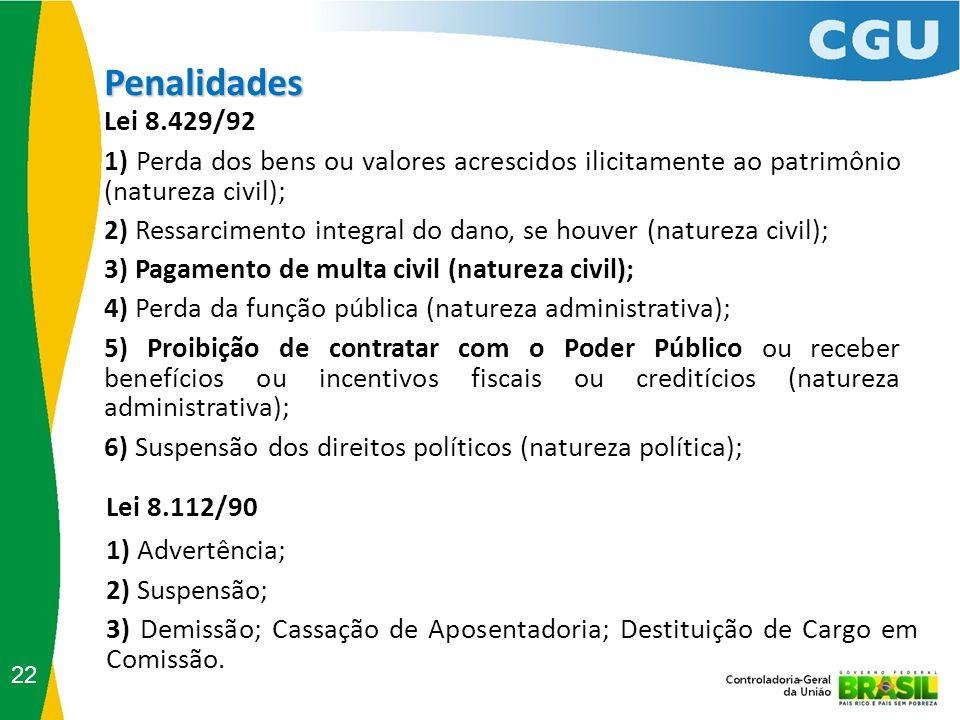 22 Penalidades Lei 8.429/92 1) Perda dos bens ou valores acrescidos ilicitamente ao patrimônio (natureza civil); 2) Ressarcimento integral do dano, se