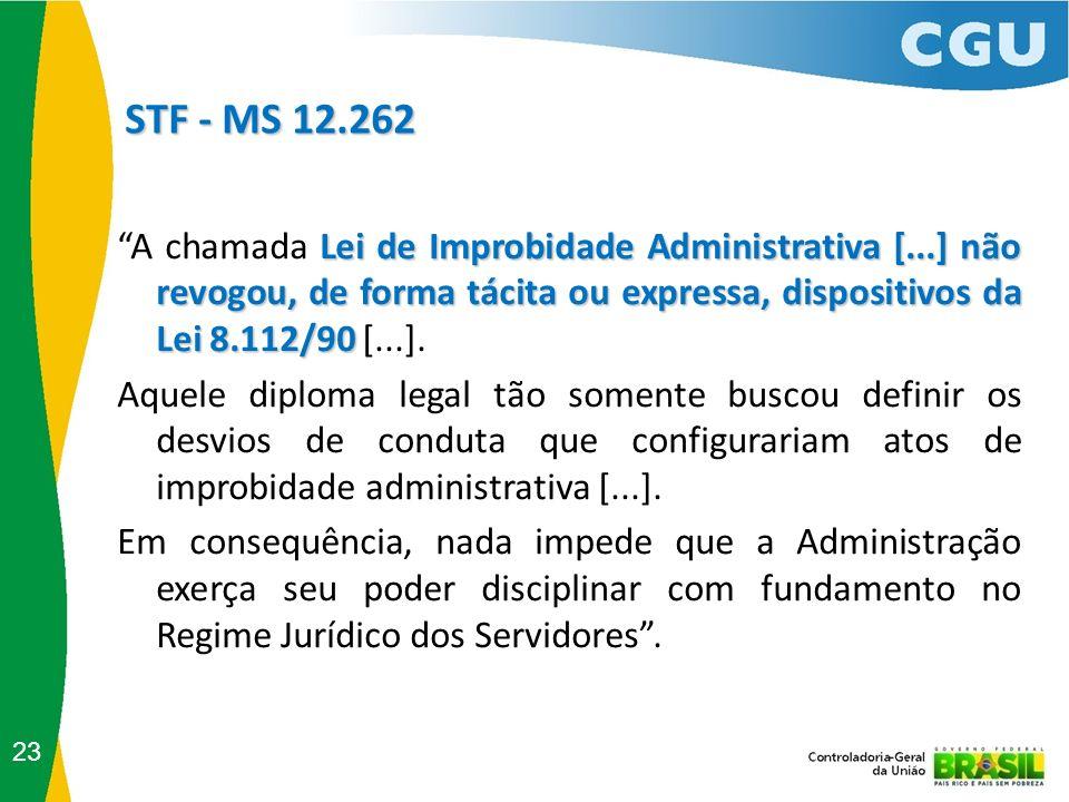 STF - MS 12.262 STF - MS 12.262 23 Lei de Improbidade Administrativa [...] não revogou, de forma tácita ou expressa, dispositivos da Lei 8.112/90 A ch