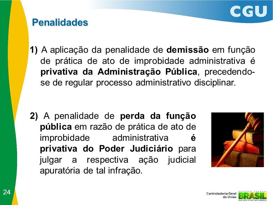 Penalidades 24 2) A penalidade de perda da função pública em razão de prática de ato de improbidade administrativa é privativa do Poder Judiciário par