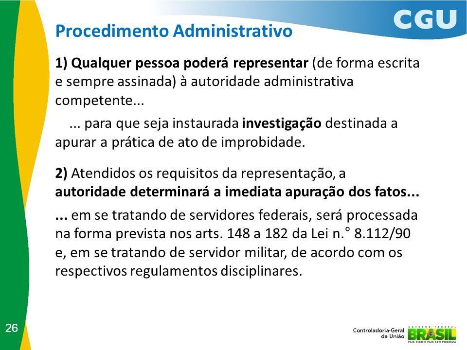 Procedimento Administrativo 26 1) Qualquer pessoa poderá representar (de forma escrita e sempre assinada) à autoridade administrativa competente......
