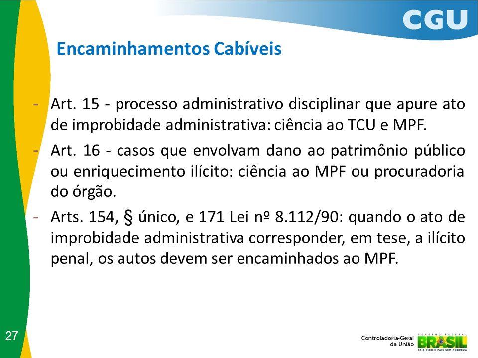 Encaminhamentos Cabíveis 27 - Art. 15 - processo administrativo disciplinar que apure ato de improbidade administrativa: ciência ao TCU e MPF. - Art.