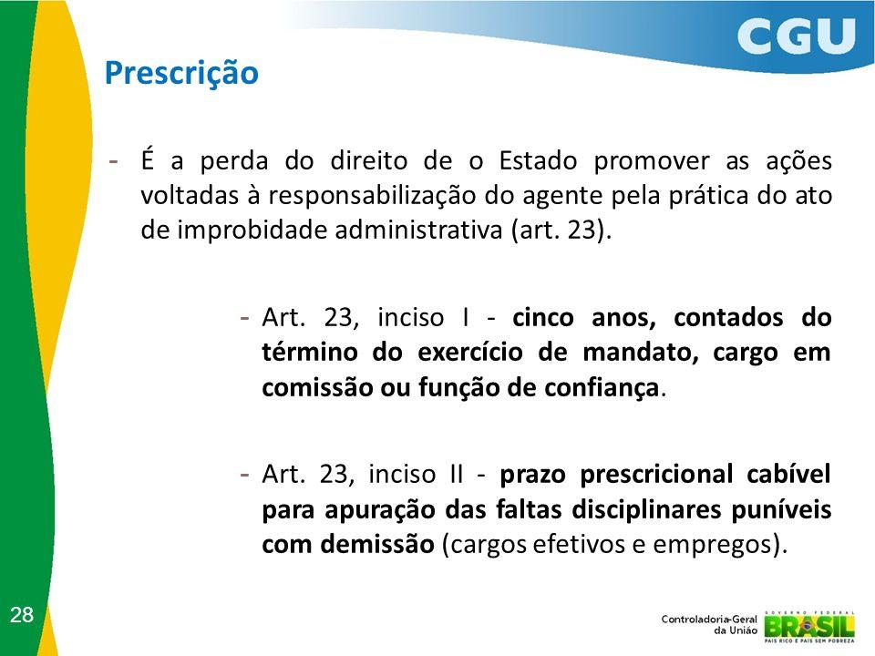 Prescrição 28 - É a perda do direito de o Estado promover as ações voltadas à responsabilização do agente pela prática do ato de improbidade administr