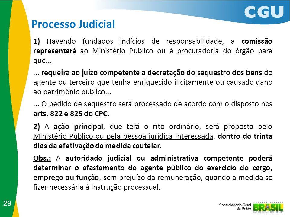 Processo Judicial 29 2) 2) A ação principal, que terá o rito ordinário, será proposta pelo Ministério Público ou pela pessoa jurídica interessada, den