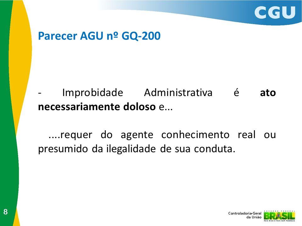 Parecer AGU nº GQ-200 88 - Improbidade Administrativa é ato necessariamente doloso e.......requer do agente conhecimento real ou presumido da ilegalid