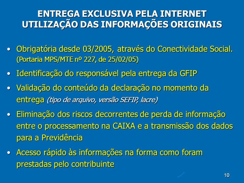 10 ENTREGA EXCLUSIVA PELA INTERNET UTILIZAÇÃO DAS INFORMAÇÕES ORIGINAIS Obrigatória desde 03/2005, através do Conectividade Social.