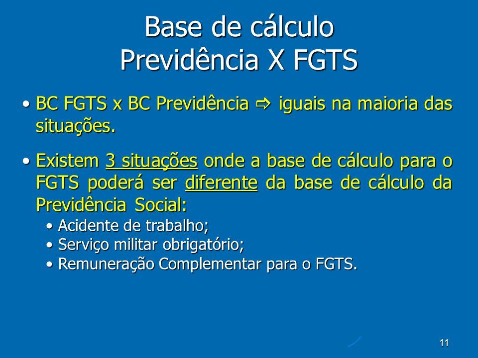 11 Base de cálculo Previdência X FGTS BC FGTS x BC Previdência iguais na maioria das situações.BC FGTS x BC Previdência iguais na maioria das situações.