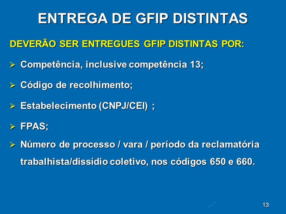 13 ENTREGA DE GFIP DISTINTAS DEVERÃO SER ENTREGUES GFIP DISTINTAS POR: Competência, inclusive competência 13; Competência, inclusive competência 13; Código de recolhimento; Código de recolhimento; Estabelecimento (CNPJ/CEI) ; Estabelecimento (CNPJ/CEI) ; FPAS; FPAS; Número de processo / vara / período da reclamatória trabalhista/dissídio coletivo, nos códigos 650 e 660.