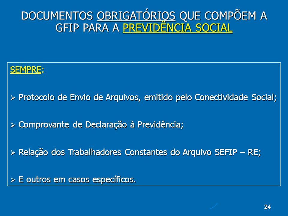 24 SEMPRE: Protocolo de Envio de Arquivos, emitido pelo Conectividade Social; Protocolo de Envio de Arquivos, emitido pelo Conectividade Social; Comprovante de Declaração à Previdência; Comprovante de Declaração à Previdência; Relação dos Trabalhadores Constantes do Arquivo SEFIP – RE; Relação dos Trabalhadores Constantes do Arquivo SEFIP – RE; E outros em casos específicos.
