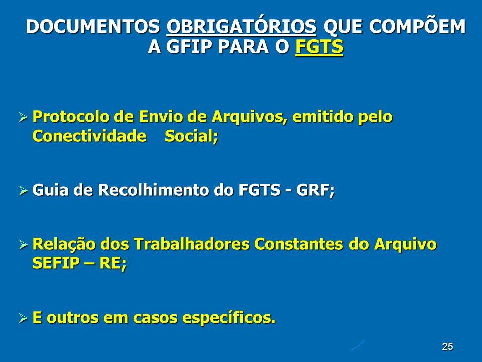 25 Protocolo de Envio de Arquivos, emitido pelo Conectividade Social; Protocolo de Envio de Arquivos, emitido pelo Conectividade Social; Guia de Recolhimento do FGTS - GRF; Guia de Recolhimento do FGTS - GRF; Relação dos Trabalhadores Constantes do Arquivo SEFIP – RE; Relação dos Trabalhadores Constantes do Arquivo SEFIP – RE; E outros em casos específicos.