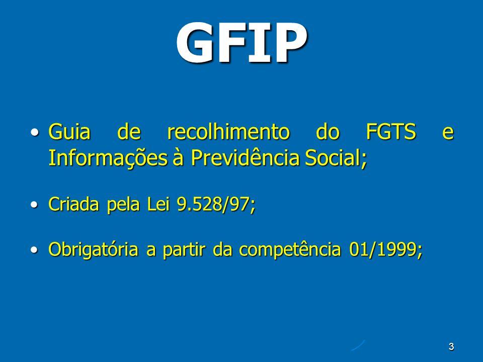 3 GFIP Guia de recolhimento do FGTS e Informações à Previdência Social;Guia de recolhimento do FGTS e Informações à Previdência Social; Criada pela Lei 9.528/97;Criada pela Lei 9.528/97; Obrigatória a partir da competência 01/1999;Obrigatória a partir da competência 01/1999;