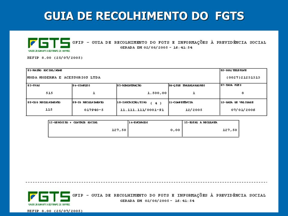 31 GUIA DE RECOLHIMENTO DO FGTS