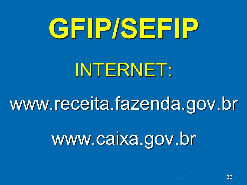 32 GFIP/SEFIP INTERNET: www.receita.fazenda.gov.br www.caixa.gov.br