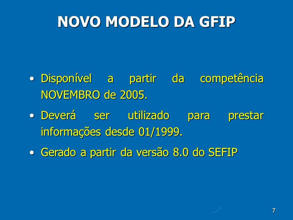 7 Disponível a partir da competência NOVEMBRO de 2005.Disponível a partir da competência NOVEMBRO de 2005.
