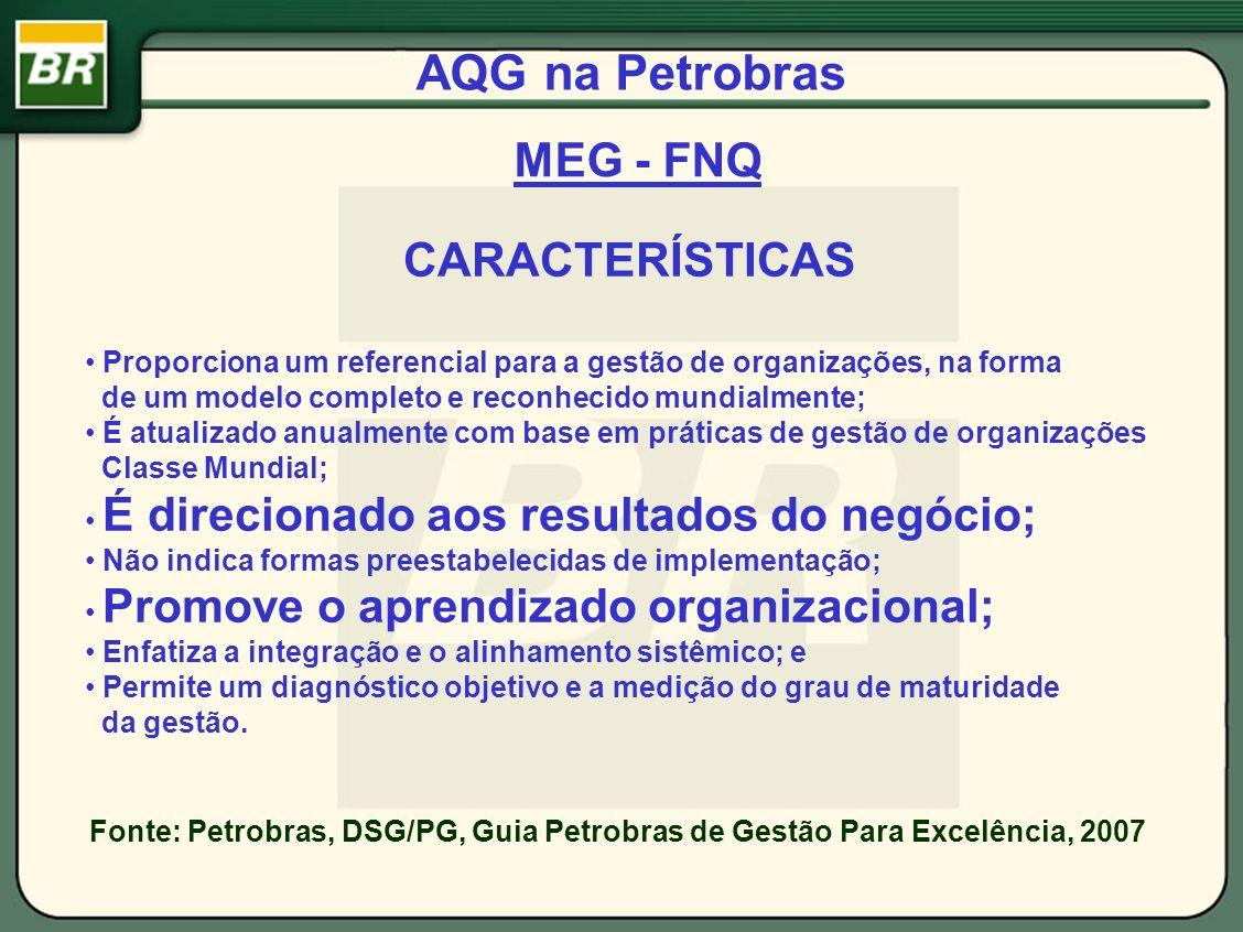 AQG na Petrobras CARACTERÍSTICAS Proporciona um referencial para a gestão de organizações, na forma de um modelo completo e reconhecido mundialmente;