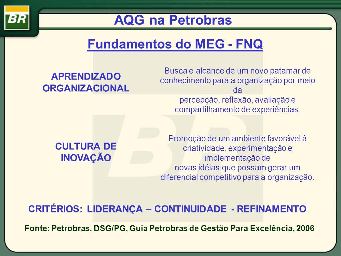 AQG na Petrobras Fundamentos do MEG - FNQ Fonte: Petrobras, DSG/PG, Guia Petrobras de Gestão Para Excelência, 2006 Busca e alcance de um novo patamar