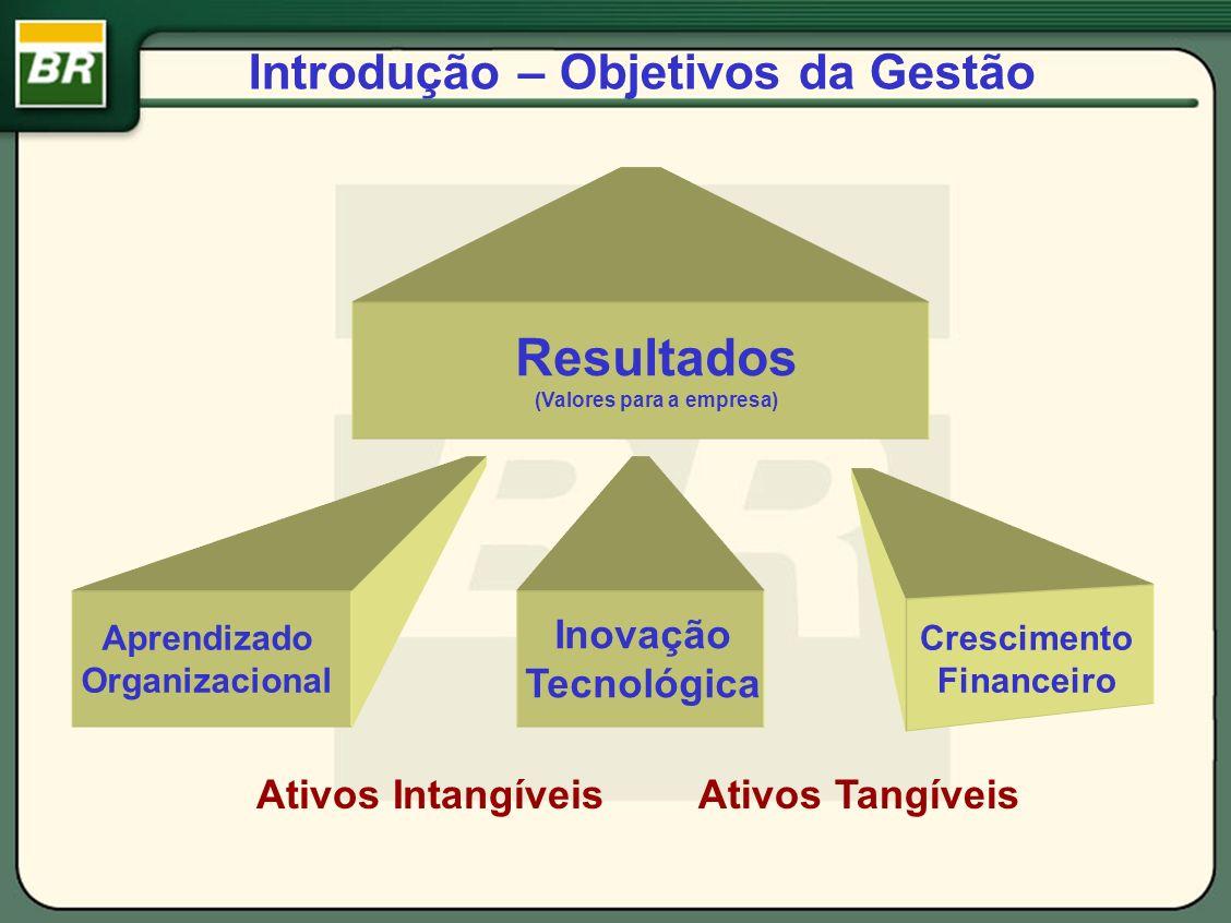 Introdução – Objetivos da Gestão Resultados (Valores para a empresa) Aprendizado Organizacional Inovação Tecnológica Crescimento Financeiro Ativos Int