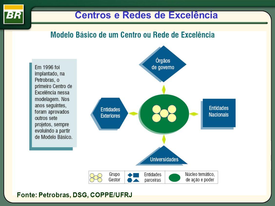 Centros e Redes de Excelência Fonte: Petrobras, DSG, COPPE/UFRJ