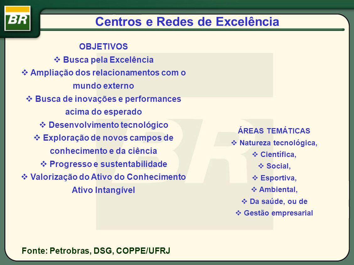 Centros e Redes de Excelência Fonte: Petrobras, DSG, COPPE/UFRJ OBJETIVOS Busca pela Excelência Ampliação dos relacionamentos com o mundo externo Busc