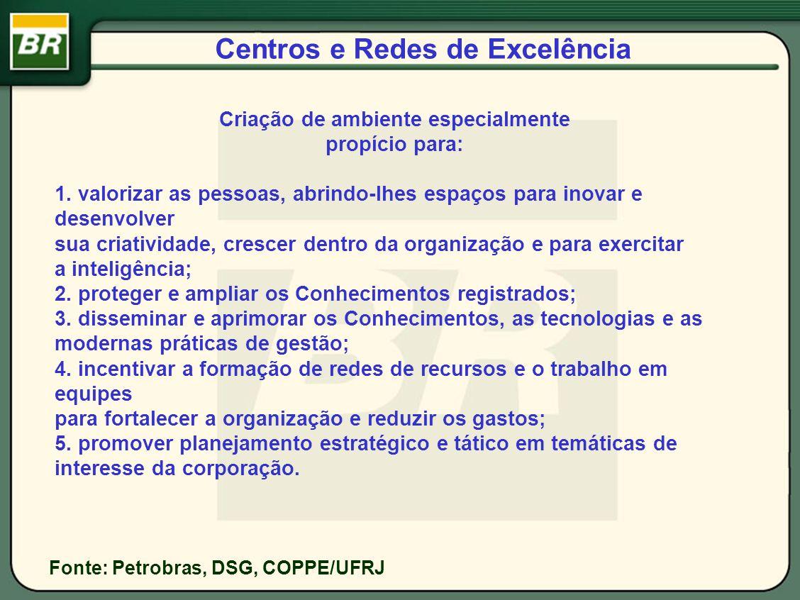 Centros e Redes de Excelência Fonte: Petrobras, DSG, COPPE/UFRJ Criação de ambiente especialmente propício para: 1. valorizar as pessoas, abrindo-lhes