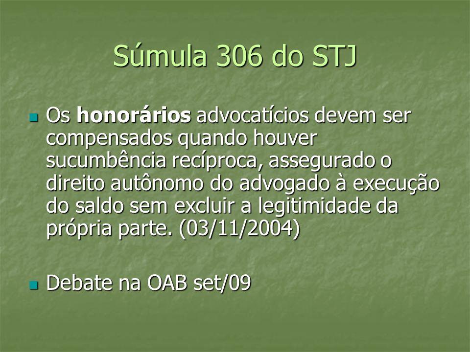 Súmula 306 do STJ Os honorários advocatícios devem ser compensados quando houver sucumbência recíproca, assegurado o direito autônomo do advogado à ex