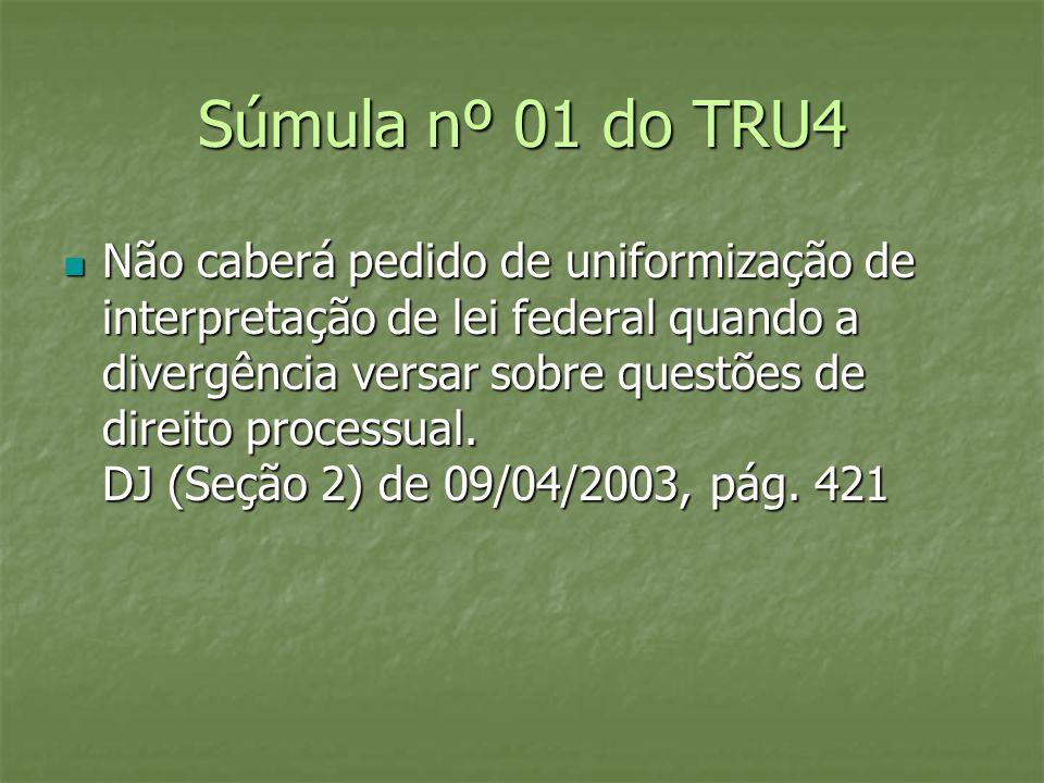 Súmula nº 01 do TRU4 Não caberá pedido de uniformização de interpretação de lei federal quando a divergência versar sobre questões de direito processu