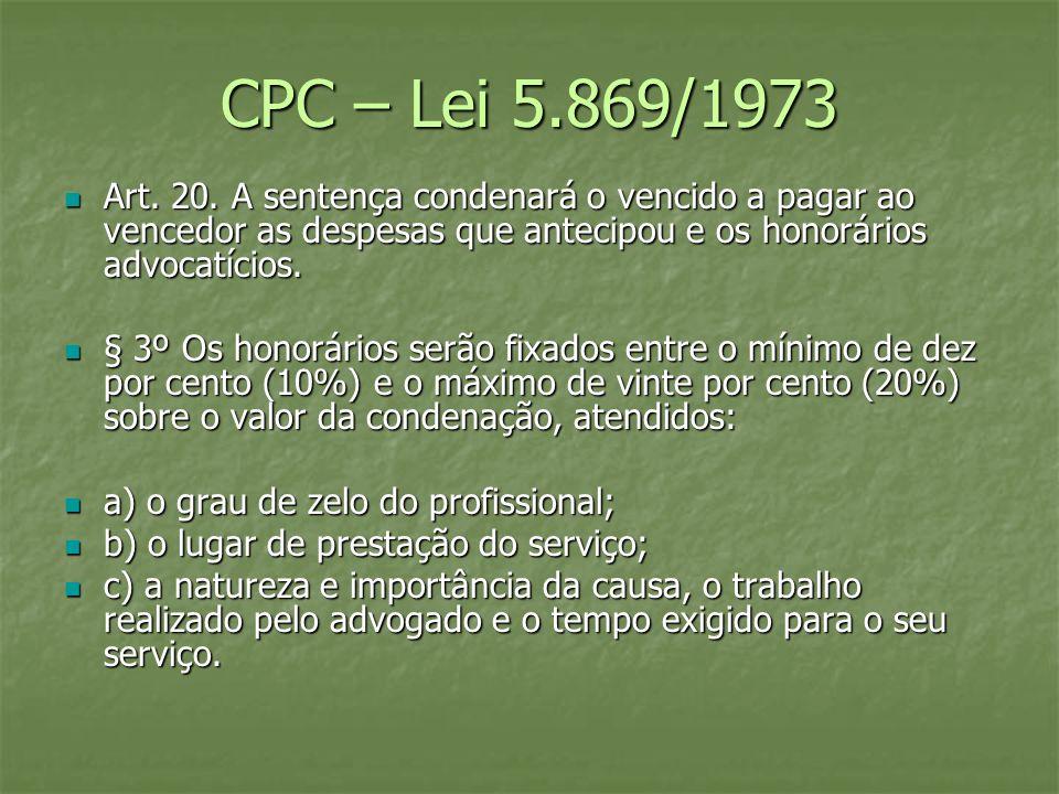 CPC – Lei 5.869/1973 Art. 20. A sentença condenará o vencido a pagar ao vencedor as despesas que antecipou e os honorários advocatícios. Art. 20. A se