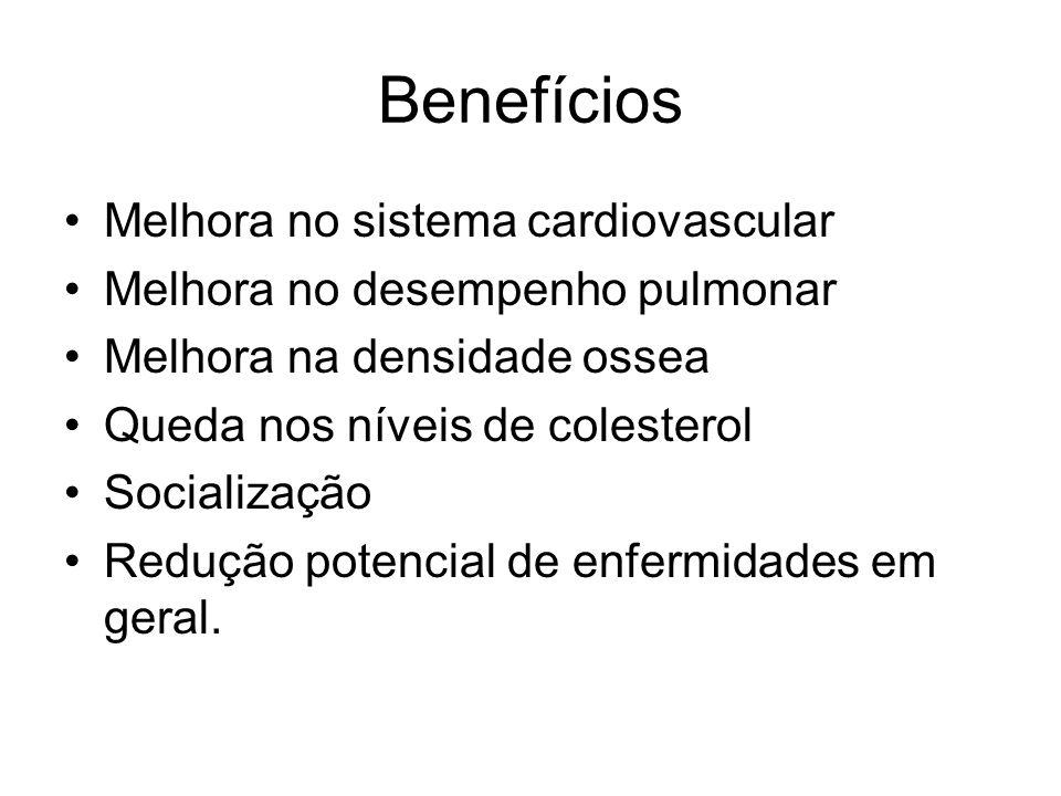 Benefícios Melhora no sistema cardiovascular Melhora no desempenho pulmonar Melhora na densidade ossea Queda nos níveis de colesterol Socialização Red