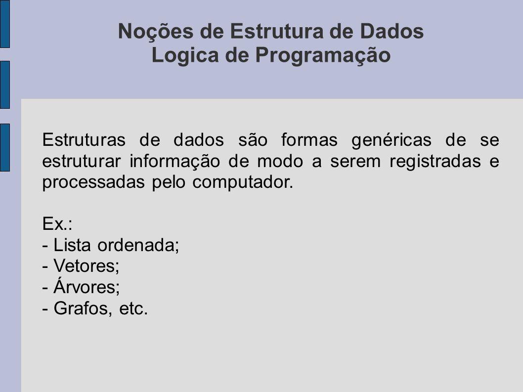 Noções de Estrutura de Dados Logica de Programação Estruturas de dados são formas genéricas de se estruturar informação de modo a serem registradas e processadas pelo computador.