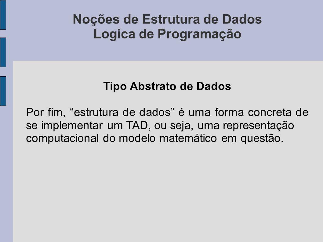 Noções de Estrutura de Dados Logica de Programação Tipo Abstrato de Dados Por fim, estrutura de dados é uma forma concreta de se implementar um TAD, ou seja, uma representação computacional do modelo matemático em questão.