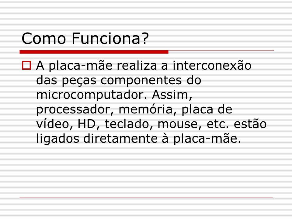 Como Funciona? A placa-mãe realiza a interconexão das peças componentes do microcomputador. Assim, processador, memória, placa de vídeo, HD, teclado,