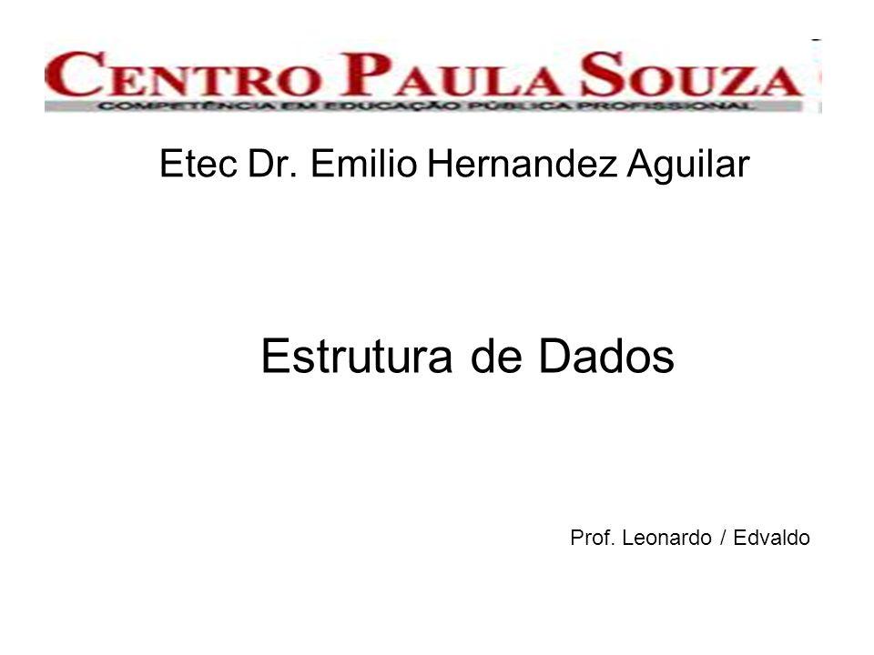 Etec Dr. Emilio Hernandez Aguilar Estrutura de Dados Prof. Leonardo / Edvaldo
