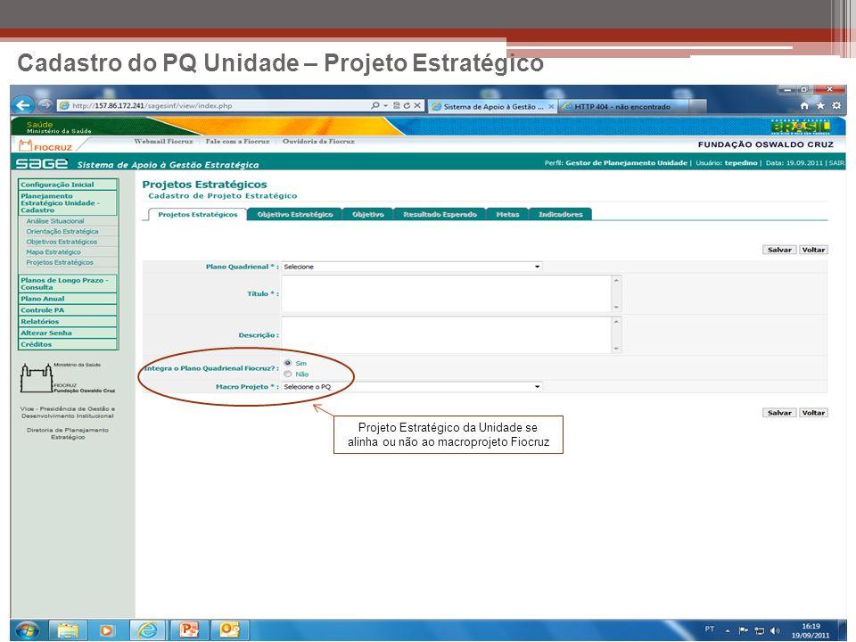 Cadastro do PQ Unidade – Projeto Estratégico Projeto Estratégico da Unidade se alinha ou não ao macroprojeto Fiocruz