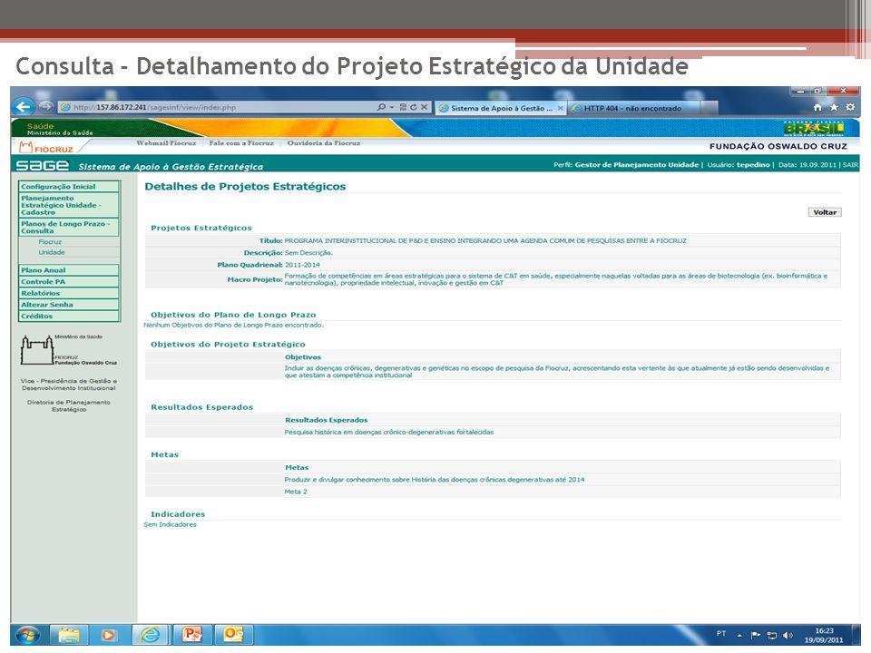 Consulta - Detalhamento do Projeto Estratégico da Unidade