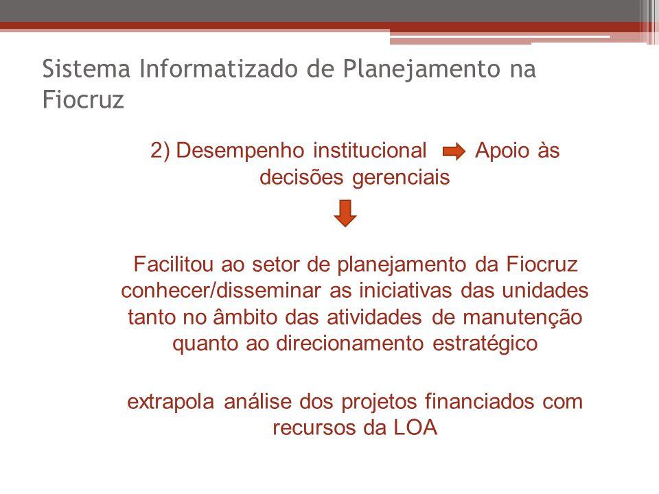 Sistema Informatizado de Planejamento na Fiocruz 2) Desempenho institucional Apoio às decisões gerenciais Facilitou ao setor de planejamento da Fiocru