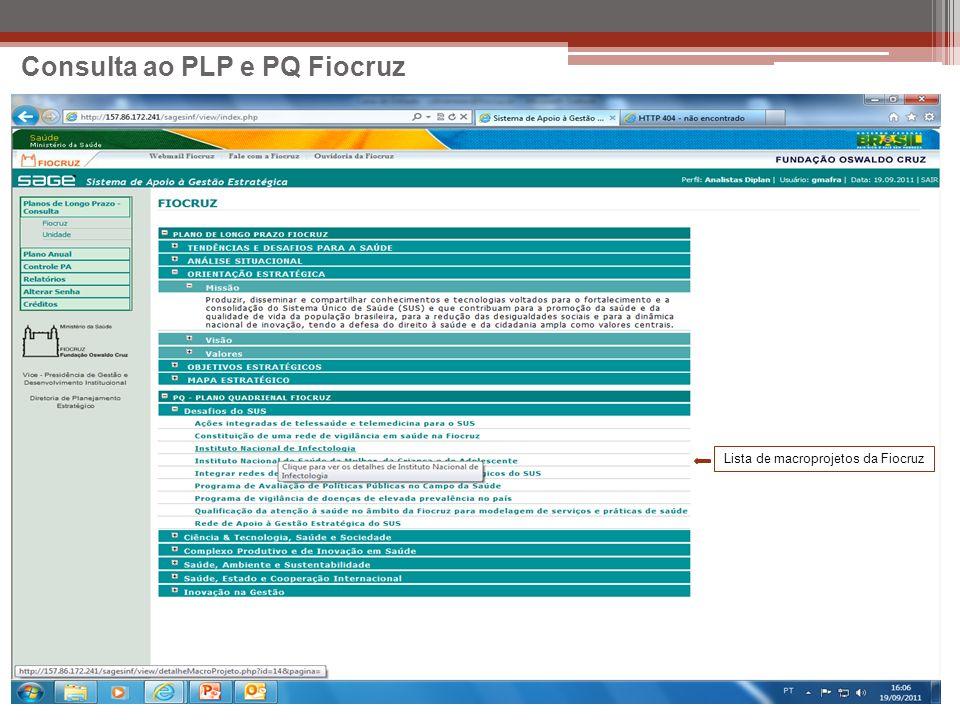 Consulta ao PLP e PQ Fiocruz Lista de macroprojetos da Fiocruz