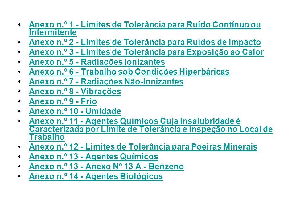 Anexo n.º 1 - Limites de Tolerância para Ruído Contínuo ou IntermitenteAnexo n.º 1 - Limites de Tolerância para Ruído Contínuo ou Intermitente Anexo n