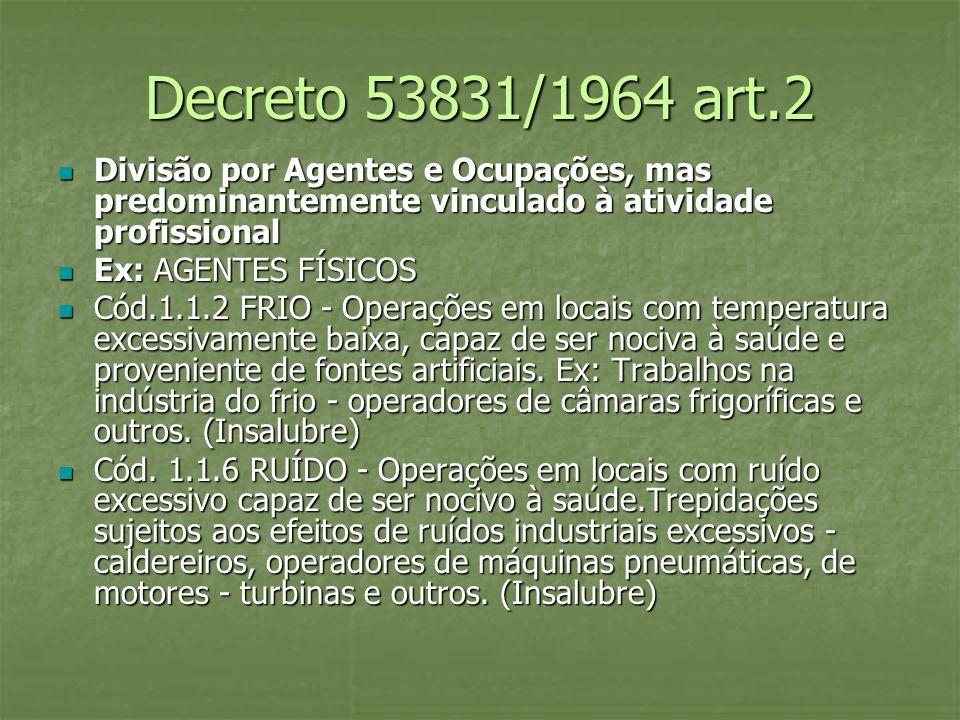 Decreto 53831/1964 art.2 Divisão por Agentes e Ocupações, mas predominantemente vinculado à atividade profissional Divisão por Agentes e Ocupações, ma