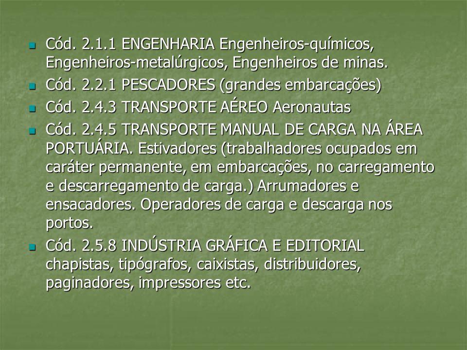 Cód. 2.1.1 ENGENHARIA Engenheiros-químicos, Engenheiros-metalúrgicos, Engenheiros de minas. Cód. 2.1.1 ENGENHARIA Engenheiros-químicos, Engenheiros-me
