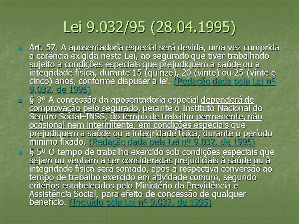 Lei 9.032/95 (28.04.1995) Art. 57. A aposentadoria especial será devida, uma vez cumprida a carência exigida nesta Lei, ao segurado que tiver trabalha
