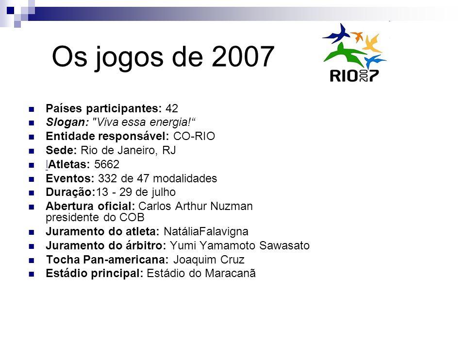 Os jogos de 2007 Países participantes: 42 Slogan: