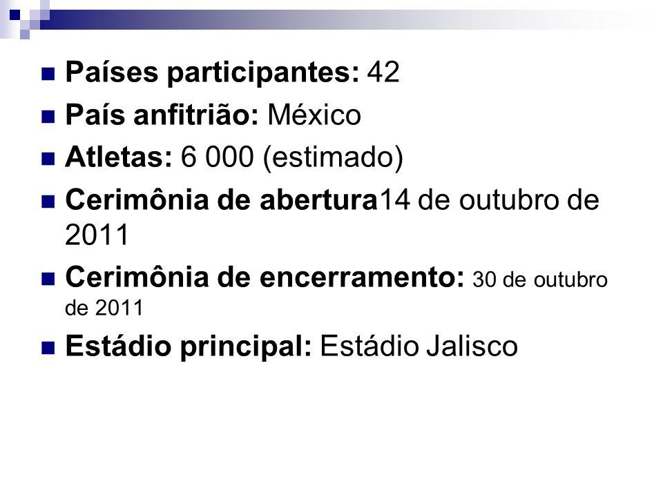Países participantes: 42 País anfitrião: México Atletas: 6 000 (estimado) Cerimônia de abertura14 de outubro de 2011 Cerimônia de encerramento: 30 de