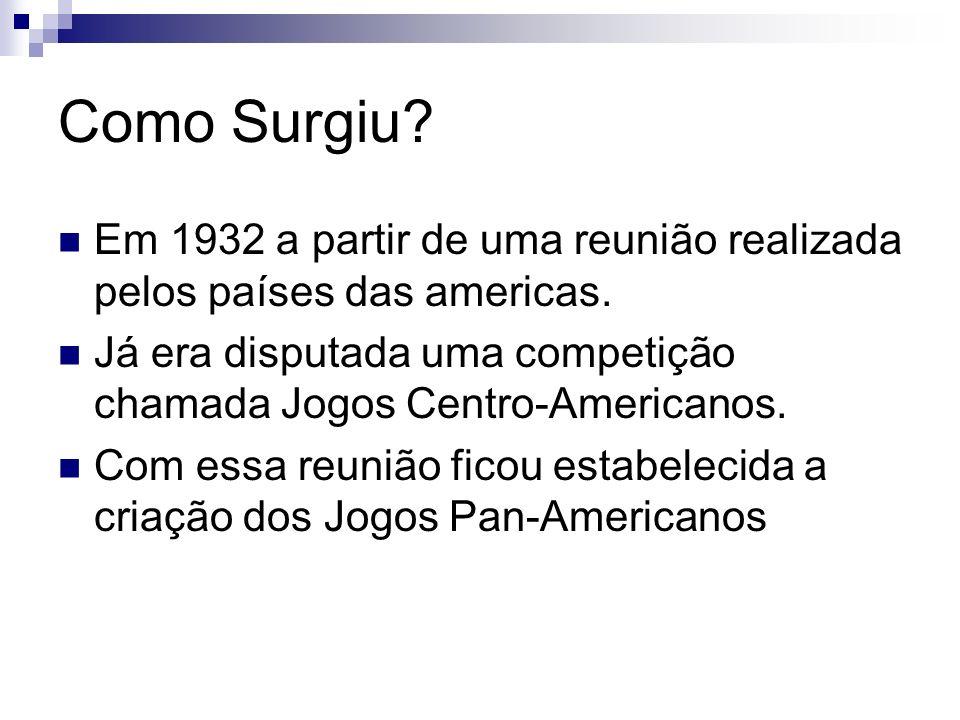 Como Surgiu? Em 1932 a partir de uma reunião realizada pelos países das americas. Já era disputada uma competição chamada Jogos Centro-Americanos. Com