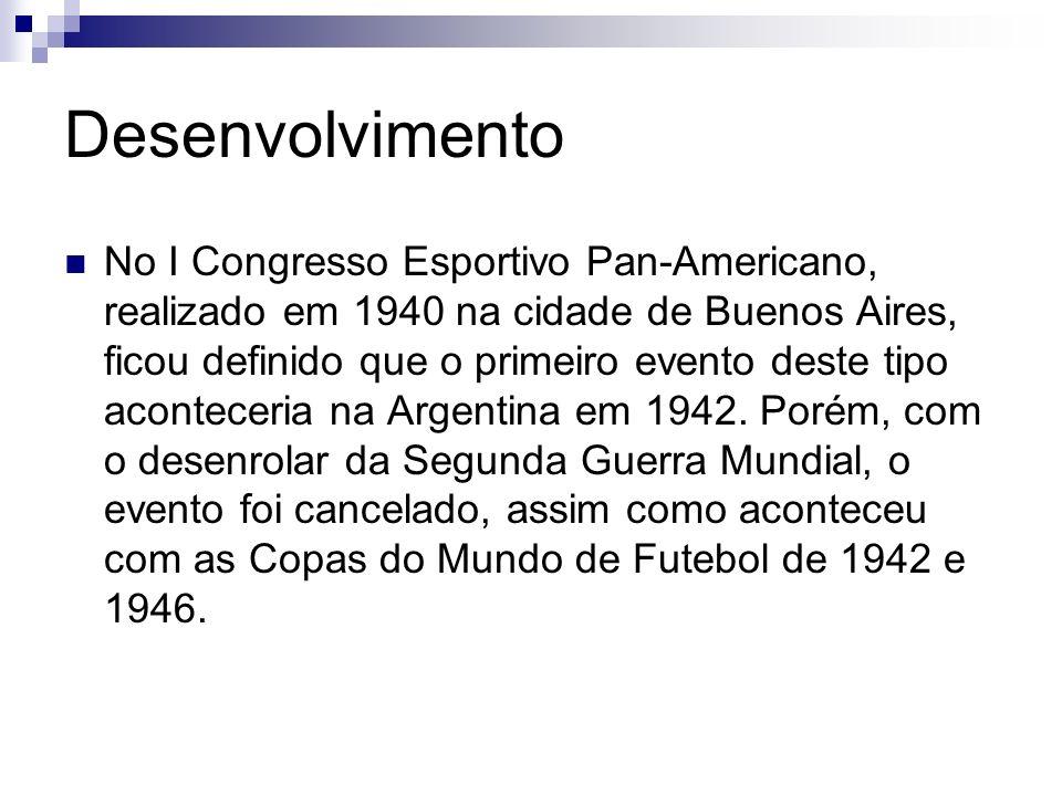 Desenvolvimento No I Congresso Esportivo Pan-Americano, realizado em 1940 na cidade de Buenos Aires, ficou definido que o primeiro evento deste tipo a